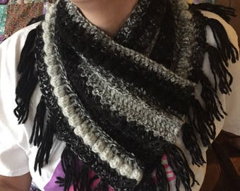 Textured Cowl with Buttons & Fringe