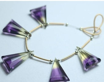 80% OFF SALE 5 Pieces Amazing Ametrine Triangle Faceted Briolette Beads