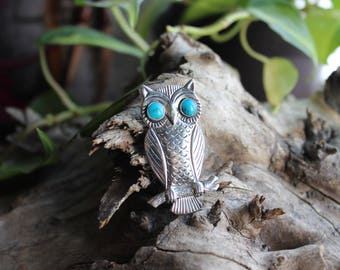 Vintage Native American Bell Trading Post sterling silver turquoise owl brooch