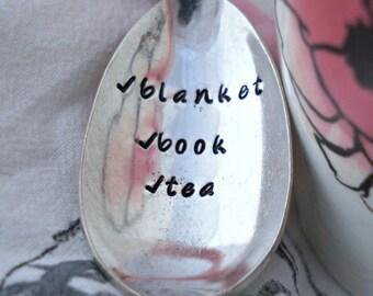 Blanket Book Tea. Stamped Spoon. Vintage Spoon. Tea Spoon. Gift for Tea Lover. Gift for Friend. Stamped Silverware by The Rustic Stamp