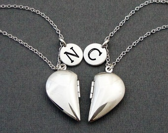 Best Friend Necklaces, BFF Necklaces, Heart Locket Necklaces,  BFF Silver Locket Necklace, Sister Necklaces, Friendship Jewelry, Heart Shape