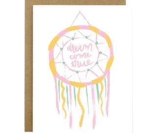 Love card, sweet love card, dreamcatcher, valentines day card, love card for boyfriend, love card for girlfriend, Dream come true