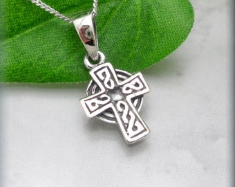 Celtic Cross Necklace, Sterling Silver, Irish Jewelry, Religious Necklace, Easter Necklace, Easter Gift, Silver Pendant