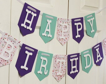 Purple, Green and Glitter Polka Dot Happy Birthday Banner, High Chair Banner, One Banner