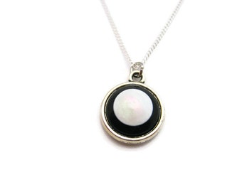 Black and White Necklace Small Retro Necklace Monochrome Necklace Monochrome Jewelry Black and White Jewelry Minimalist Necklace