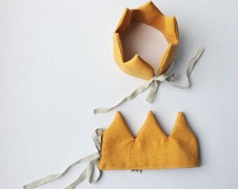 Yellow Linen Crown - kids Crown - Birthday Crown - Kroon - Party Hat - verjaardagskroon - kroon in linnen - kroon speelgoed - kinderfeest