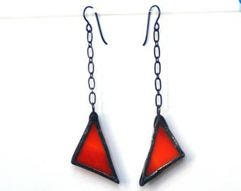 Orange Earrings, Stained Glass Earrings, Dangle Earrings, Halloween