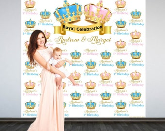 Royal Birthday Party Personalized Photo Backdrop - Gender Reveal Baby Shower Photo Backdrop- Step and Repeat Photo Backdrop, Twins Birthday