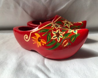 Vintage Pair of Red Hand Painted Wooden Shoes