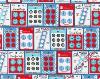 "Robert Kaufman ""Gran's Sewing Basket"" #16401-4  Sewing Buttons Fabric (Select Size)"