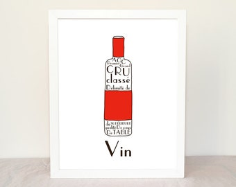 French Kitchen Art French Wine 8x10 giclee art print Personalized Kitchen Poster French Alcohol Beverages Drinks Typographic print Red