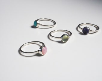 Simple Silver Solitaire Stacking Rings with Pink Opal, Prehnite, Ammonite and Iolite Gemstone