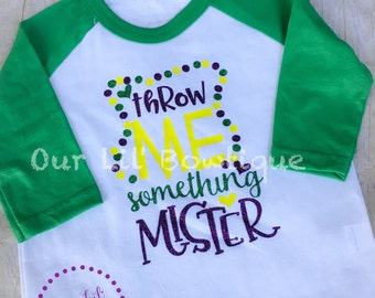 Mardi Gras Shirt - Throw Me Something Mister - Raglan - Mardi Gras Raglan - Kids Mardi Gras Shirt - Beads -Glitter