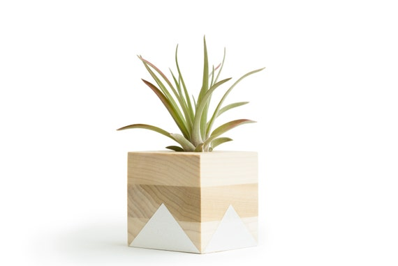 sweet house plant holders. Like this item  White Geometric Pot Wood Air Planter Gifts for Her