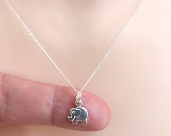Tiny sterling silver elephant necklace, delicate necklace, sterling silver necklace, elephant jewelry, choker necklace beautiful gift