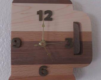 Beer Mug Clock, HANDMADE, wooden stripes