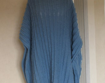 Poncho two sides fringed blue alpaca and wool knit