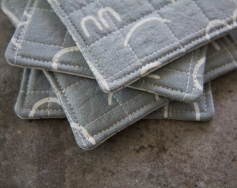 Light Blue and White Modern Quilted Coasters - Set of 4