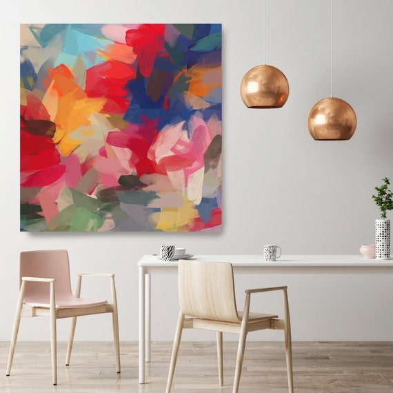 "Extra Large Painting Colorful Extra Large Wall Art Colorful Chaos Red Yellow Blue Abstract Extra Large Art Canvas UP TO 50"" by Irena Orlov"
