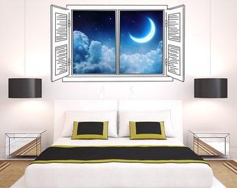 Night Moon - Window Art Print