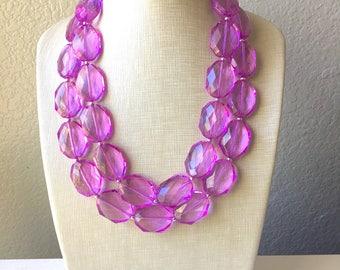 Pinkish Purple Chunky Statement Necklace and earrings Set, Beaded purple Jewelry, light purple bib necklace, purple earrings, lilac jewelry