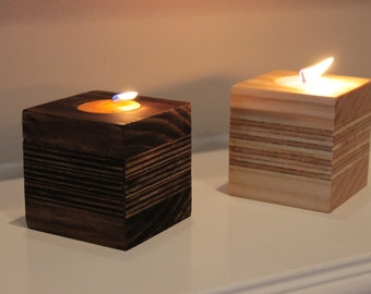 Candle holder handmade with re-purposed wood