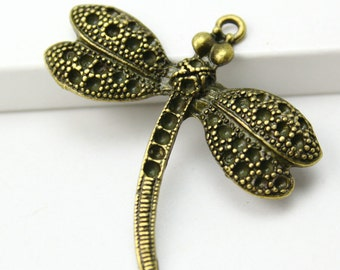 10Pcs Antique Brass dragonfly Charm dragon fly Pendant 35x37mm (PND292)
