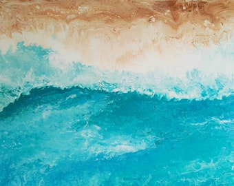 Large ocean painting beach house decor blue and baige colors ideal for luxurious home acrylic colors on cotton canvas by Michela Marini
