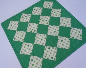 Quilted Table Topper St Patrick's Day, Irish Shamrock Table Quilt, Quilted Table Runner, Quilted Candle Mat, St Patrick's Day Decor