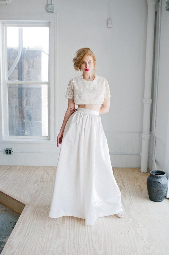 Harper Wedding Skirt Silk Satin Floor Length Gathered Skirt