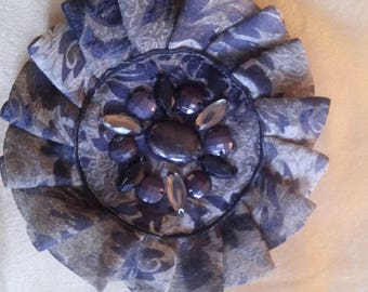Sewing, beige and Brown chiffon flower brooch