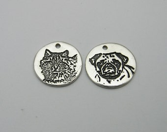 Dog Charm, Cat Charm, Pet Photo Jewelry, Pet Lover Charm, Engraved Pet Photo, Animal Lover, Dog Memorial, Cat Memorial, Engraved Dog Charm