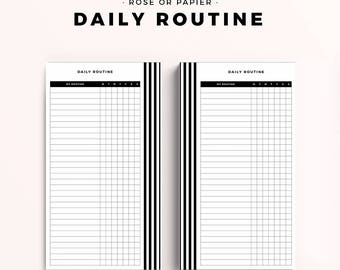 Personal Size Printable Planner Inserts, Daily Routine, Productive Planner Pages, Black White Stripe