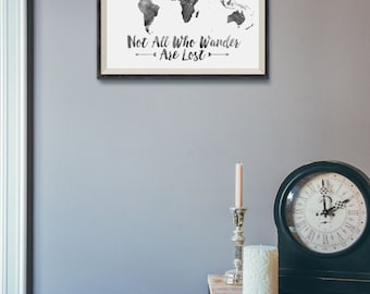 Travel quote map quote world map world map print world map watercolor world map print not all who wander are lost travel quote world map gumiabroncs Choice Image