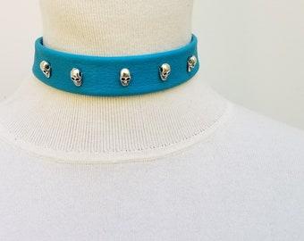 Turquoise Choker with Skulls