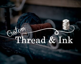 Sewing Watermark, Thread Logo, Sew Logo, Sew Watermark, String Watermark, Black White, White Watermark, Premade Watermark, Affordable