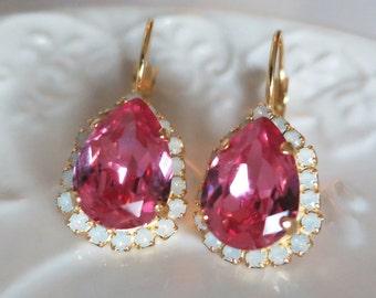 Valentine's Gift,Pink Earrings,Statement Earrings,Swarovski,Pink Bridal Earrings,Pink Earrings,Wedding,Rose Pink Teardrop Earring,Pendientes