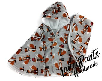 Size 4 2T-4T fox gentleman soft cuddle minky fleece car seat poncho - winter kids children's poncho -infant poncho - toddler poncho