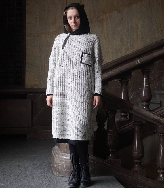 Lagenlook Oversized Sweater, Knitted Wool Dress Top, Winter Maxi Top, Cotton Lining Long Warm Pullover, Plus Size Hoodie