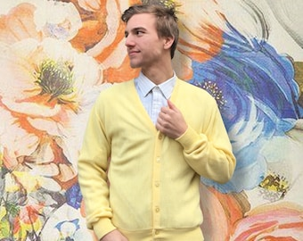 Vintage 1960's Yellow Button Up Cardigan