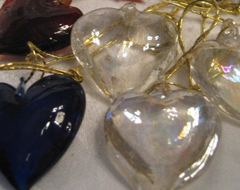 Clear or Blue VINTAGE Realistic Glass Heart Charm Pendant