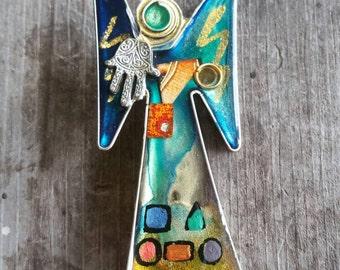 Very Unique Handcrafted Hamsa Angel Brooch