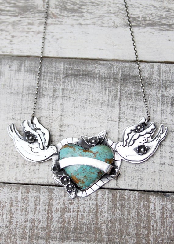 Personalized Sailor Jerrys Inspired Pendant Handmade With Sterling Silver & Kingman Turquoise