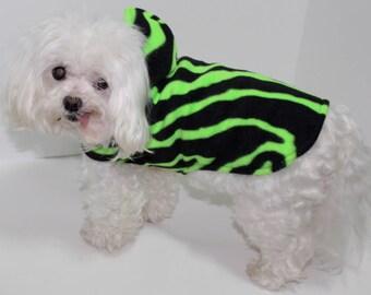 Zebra Dog Hoodie, XS Day Glow Green with Black Zebra Print Fleece Dogs Jacket, Designer Fashion Dog Clothing