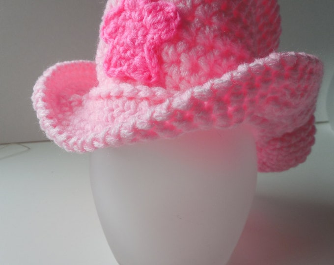 Cowboy Pink Hat - Cowgirl Hat Baby Photo Prop - Cowgirl Baby - Pink and Hot Pink - Handmade - Crochet - 0 to 4t -  Made to Order