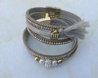 pair of Grey Friendship bracelets-Faux Leather Suede Swarovski Crystal Rhinestone Friendship bracelet-tassel and magnetic catch