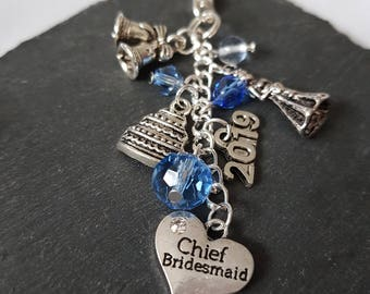Chief Bridesmaid bag charm - Chief bridesmaid gift - gift for chief bridesmaid - bridesmaid accessory - wedding gift - be my bridesmaid