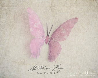 Personalized Art Prints Girls, Pink Butterfly Art, Pink Girls Room Decor, Birthdate Print, Name Definition Print, Baby Girl Nursery Artwork