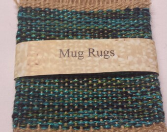 Mug Rugs, upcycled handwoven coasters, turquoise, teal, green, grey and beige drink coaster gift set