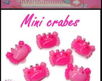 Set of 6 mini crab resin embellishment scrapbooking card making *.